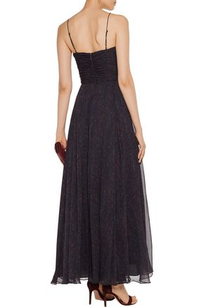 HAUTE HIPPIE The Gala lace-up ruched printed silk-chiffon gown