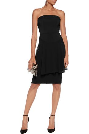BADGLEY MISCHKA Strapless layered cady and chiffon dress