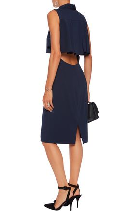 BADGLEY MISCHKA Layered cutout crepe dress