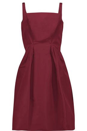 ZAC POSEN Flared pleated silk-faille mini dress
