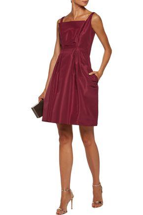 ZAC POSEN Flared pleated silk-faille mini dress