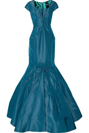 ZAC POSEN Fluted frayed silk-faille gown