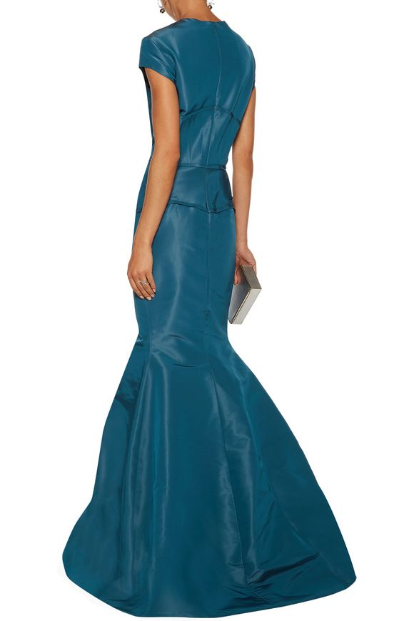 Fluted frayed silk-faille gown | ZAC POSEN | Sale up to 70% off | THE OUTNET