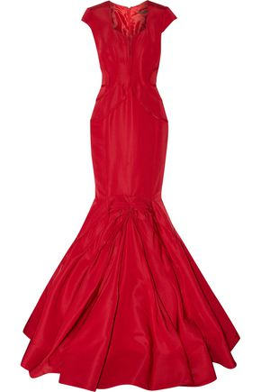ZAC POSEN Flared pleated silk-faille gown