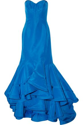 ZAC POSEN Strapless layered ruffled silk-faille gown
