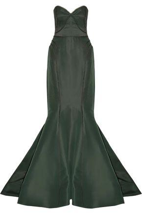 ZAC POSEN Frayed satin-trimmed silk-faille gown