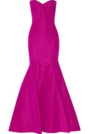 ZAC POSEN Strapless flared silk-faille gown