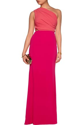 BADGLEY MISCHKA One-shoulder two-tone crepe de chine gown