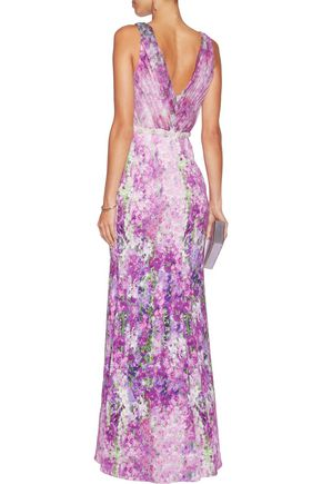 BADGLEY MISCHKA Embellished pleated tulle-paneled floral-print crepe gown