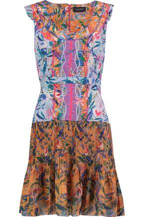 SALONI Elodie pleat-paneled printed silk mini dress