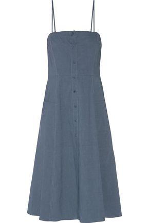 THEORY Pleated linen-blend dress