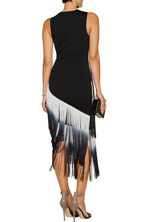 HAUTE HIPPIE The Cowgirl fringed stretch-ponte midi dress
