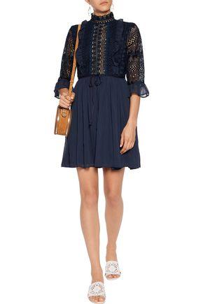 PERSEVERANCE Ruffled guipure lace and chiffon mini dress