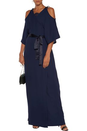 PERSEVERANCE Cold-shoulder crepe maxi wrap dress