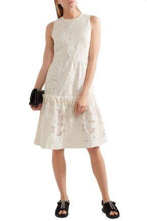 MOTHER OF PEARL Ellie faux pearl-embellished devoré cotton-blend midi dress