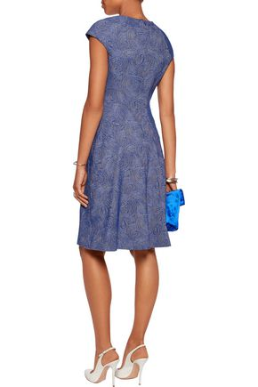 LELA ROSE Blair embellished cotton-blend jacquard dress