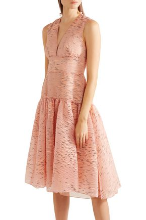 LELA ROSE Fil coupé organza dress