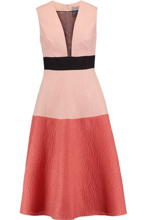 LELA ROSE Color-block wool-blend cloqué midi dress