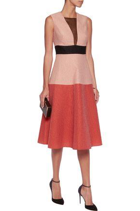 LELA ROSE Color-block wool-blend cloqué midi dress