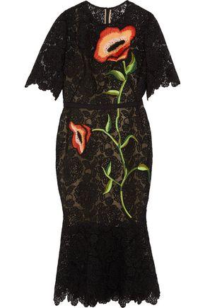 LELA ROSE Embroidered macramé lace midi dress