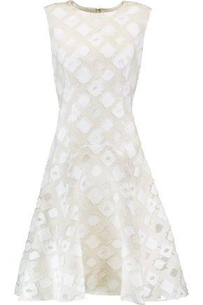 LELA ROSE Cotton and silk-blend fil coupé midi dress