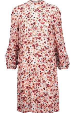LELA ROSE Open-knit cotton-trimmed printed crepe dress
