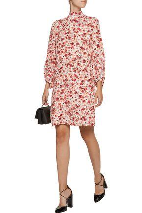 LELA ROSE Open-knit cotton-trimmed printed crepe dress