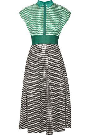 LELA ROSE Gingham crinkled-voile midi dress