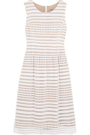 LELA ROSE Felicia cutout cotton and silk dress