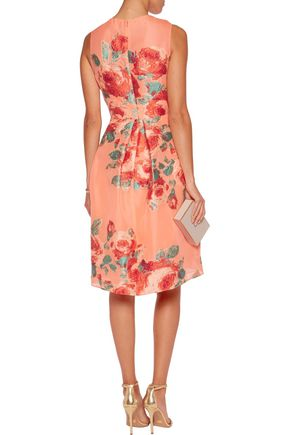 LELA ROSE Grace pleated jacquard dress