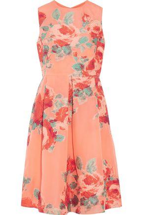 LELA ROSE Grace pleated jacquard dress