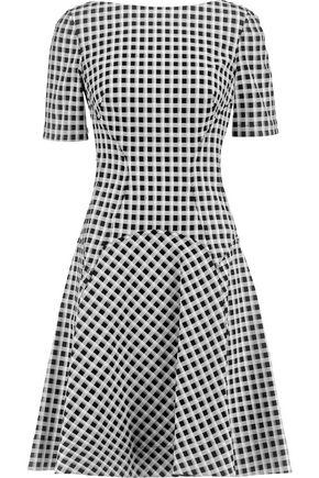 LELA ROSE Reversible gingham cotton-blend dress