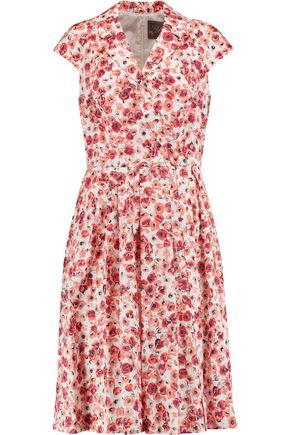 LELA ROSE Jane floral-print cotton-blend dress