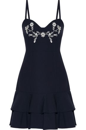 CINQ À SEPT Dara embroidered crepe de chne mini dress