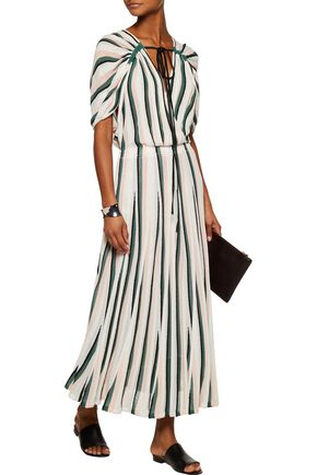 ADAM LIPPES Pleated striped French-terry midi dress