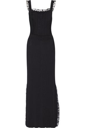 ADAM LIPPES Lace-trimmed rib-knit maxi dress
