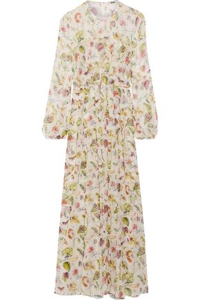 ADAM LIPPES Pleated floral-print silk-chiffon maxi dress
