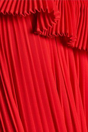 ADAM LIPPES Cutout pleated chiffon gown