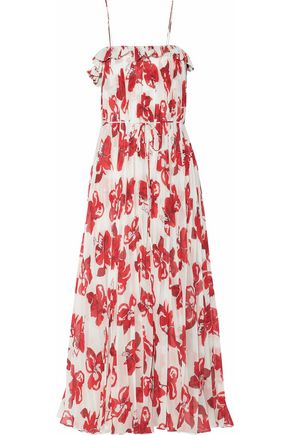 ADAM LIPPES Printed plissé-chiffon midi dress