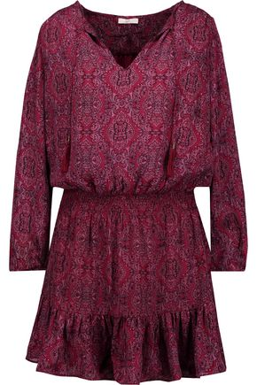 JOIE Kleeia tasseled printed washed-silk mini dress