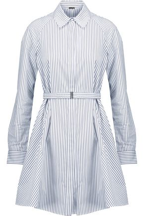 ADAM LIPPES Belted striped cotton-poplin mini dress
