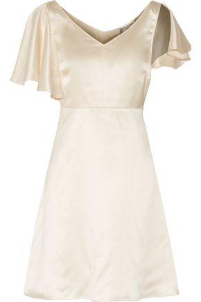 SAINT LAURENT Cold-shoulder ruffled silk-satin mini dress