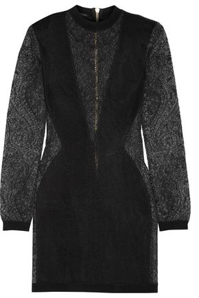 BALMAIN Jacquard knit-paneled stretch-knit mini dress