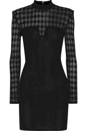 BALMAIN Jacquard knit-paneled stretch-knit mini dress