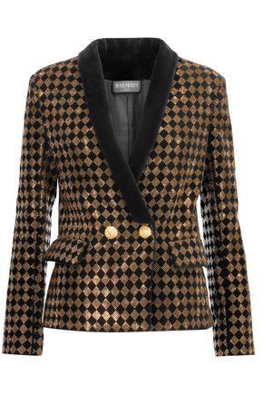 BALMAIN Crystal-embellished cotton-blend velvet blazer