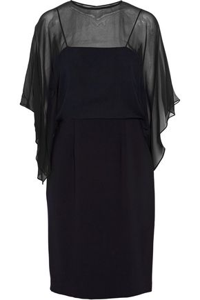MIKAEL AGHAL Cape-effect georgette-paneled  crepe dress