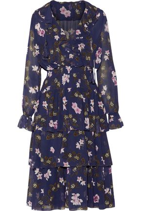 MIKAEL AGHAL Ruffled tiered floral-print chiffon midi dress