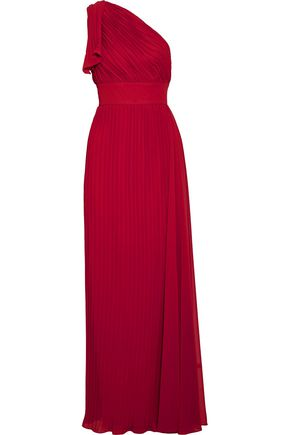 MIKAEL AGHAL One-shoulder ruffled plissé-chiffon gown