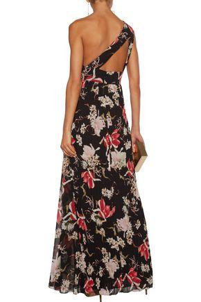 MIKAEL AGHAL One-shoulder floral-print plissé-chiffon gown