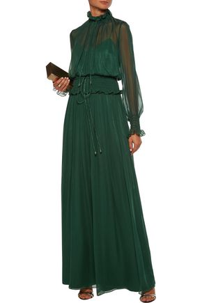 MIKAEL AGHAL Shirred pleated silk-georgette gown